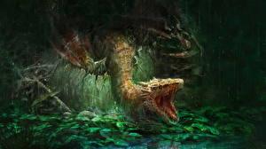 Картинка Драконы Дождь Оскал Фантастика