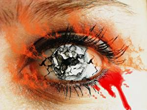Картинки Глаза Ресницы Крупным планом Крови Фэнтези