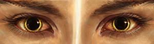 Обои Глаза Ресница Рисованные Крупным планом Смотрит