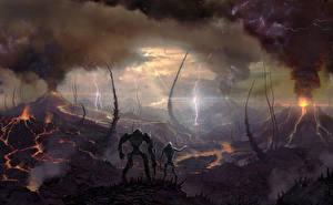 Фотография Фантастический мир Вулкан Молнии Дымит Battle for Sularia компьютерная игра