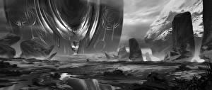 Обои Фантастический мир Черно белое Фантастика
