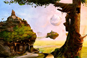 Фотографии Фантастический мир Деревья Фантасмагория