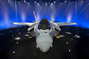 Фотография Самолеты Истребители Бомбардировщик Спереди Американские F-35 Lightning II Авиация