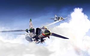 Фотографии Самолеты Истребители Рисованные Русские MiG-23 Авиация