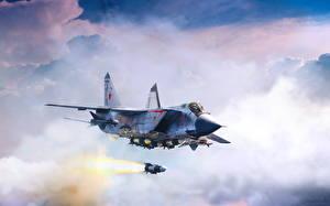 Обои Самолеты Истребители Рисованные Ракета Российские Летящий MiG-31B interceptor-fighter fires long-range R-33 missile Авиация