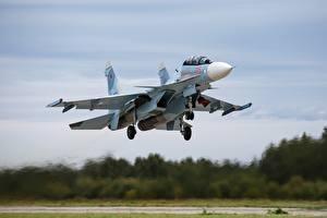 Обои Самолеты Истребители Су-30 Взлет Летит Русские SM Авиация