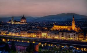 Фотография Флоренция Италия Дома Ночные