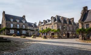Картинка Франция Дома Улица Locronan Brittany