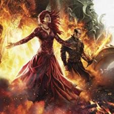 Обои Игра престолов (телесериал) Волшебство Рисованные Melisandra, Stannis Девушки Фэнтези