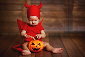 Картинка Хеллоуин Тыква Демоны Доски Младенцы Униформа Ребёнок