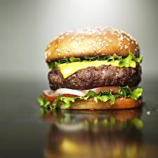 Фотография Гамбургер Вблизи Сыры Мясные продукты Еда