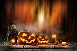 Фото Праздники Хеллоуин Тыква Свечи