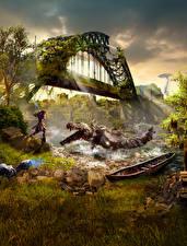 Обои Horizon Zero Dawn Монстры Воины Мосты Игры Фэнтези