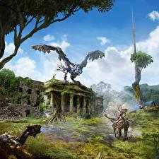 Картинка Horizon Zero Dawn Воины Робот Игры Фэнтези