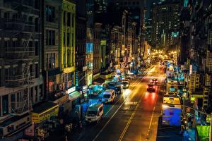 Обои Здания США Ночью Улица Нью-Йорк Манхэттен Chinatown город