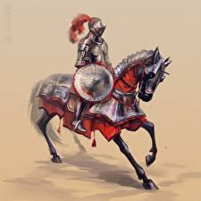 Обои Рыцарь Лошади Доспехи Щит Фэнтези