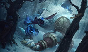 Фотографии League of Legends Чудовище Tundra Hunter Warwick Игры Фэнтези