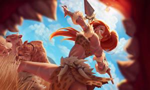 Фотография League of Legends Воины Копья Рыжая Зубы Nidalee Игры Девушки Фэнтези