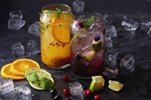 Фотография Лимонад Апельсин Лайм Напитки Лед Пища