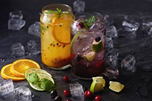 Фотография Лимонад Апельсин Лайм Напиток Льда Еда