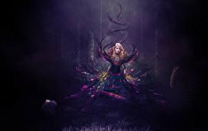 Фотография Магия Ночь Блондинка Фантастика Девушки
