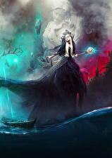 Фотографии Магия Вода Лодки Платье Посохи Фэнтези Девушки