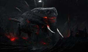 Обои Волшебные животные Слоны Ночные Фантастика