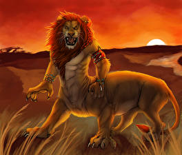 Фотографии Волшебные животные Львы Злость Фантастика
