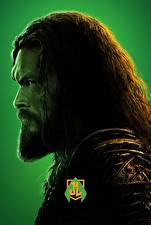 Картинки Мужчины Лига справедливости 2017 Борода Голова Сбоку Jason Momoa (Aquaman) Фильмы