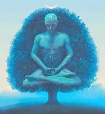 Фотографии Мужчины Поза лотоса Деревья Йога Lotus, Meditation