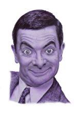 Обои Мужчины Голова Смешные Смотрит Белый фон Mr. Bean, Rowan Atkinson Знаменитости