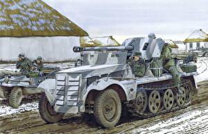 Картинка Боевая техника Рисованные Немецкий 5cm PaK 38 (Sf) auf Zugkraftwagen 1t