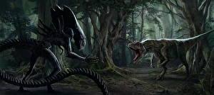 Картинки Чудовище Динозавры Злость 2 Alien. Allosaurus Фантастика