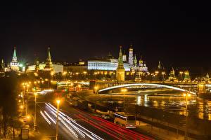 Фото Москва Московский Кремль Мосты Россия Ночные Города