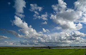 Фотографии Нидерланды Луга Небо Облака Marken