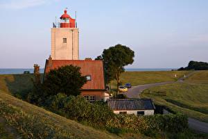 Картинки Нидерланды Дома Маяки Кусты IJsselmeer