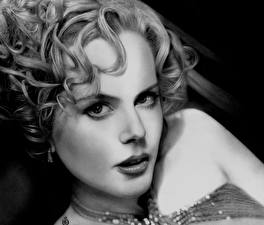 Обои Nicole Kidman Рисованные Голова Взгляд Черно белое Знаменитости Девушки