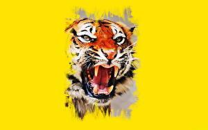 Фотография Рисованные Большие кошки Тигры Клыки Морда Злость Животные