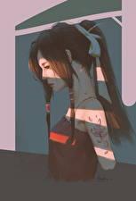 Обои Рисованные Шатенка Татуировки Девушки