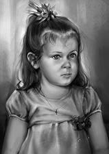 Фотографии Рисованные Девочки Черно белое Дети