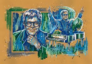 Картинки Рисованные Мужчины Elton John Улыбка Очки Знаменитости