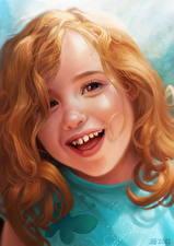 Обои Рисованные Рыжая Улыбается Головы Девочка ребёнок
