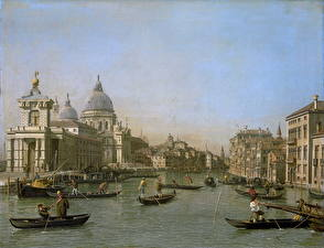 Фотография Картина Лодки Водный канал Canaletto, Entrance to the Grand Canal near the Punta della Dogana and Santa Maria della Salute