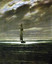 Обои Живопись Лодки Парусные Caspar David Friedrich, Seascape by Moonlight