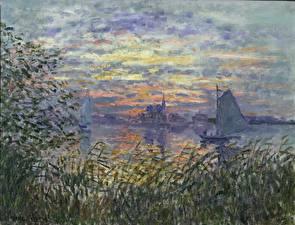 Обои Картина Лодки Парусные Claude Monet, Soleil Couchant sur la Seine