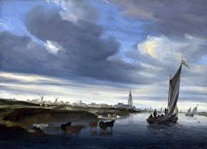Фотография Картина Лодки Парусные Корова Salomon van Ruysdael, A View of Rhenen seen from the West
