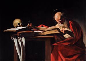 Фотографии Живопись Пожилой мужчина Книги Caravaggio, Saint Jerome Writing