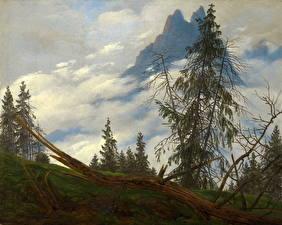 Картинки Живопись Деревья Caspar David Friedrich, Mountain Peak with Drifting Clouds Природа