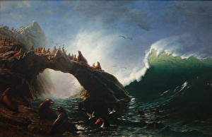 Картинки Живопись Берег Волны Тюлени Albert Bierstadt, Farallon Island