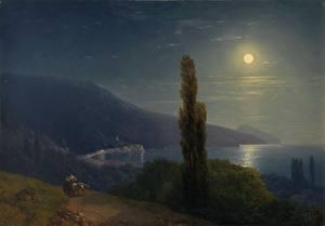 Обои Картина Крым Побережье Ночь Луна Ivan Aivazovsky, Moonlit Night, Crimea